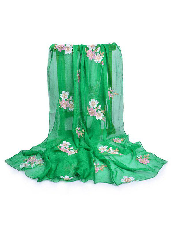 Fresh Floral Embellished Silky Long Scarf romantic rose embellished silky long scarf
