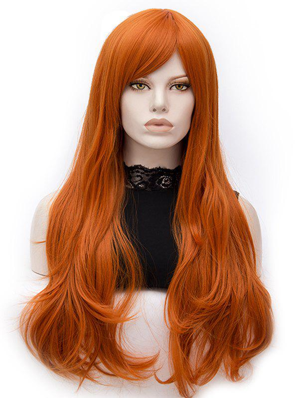 Long Inclined Bang Slightly Curly Party Synthetic Wig - TANGERINE