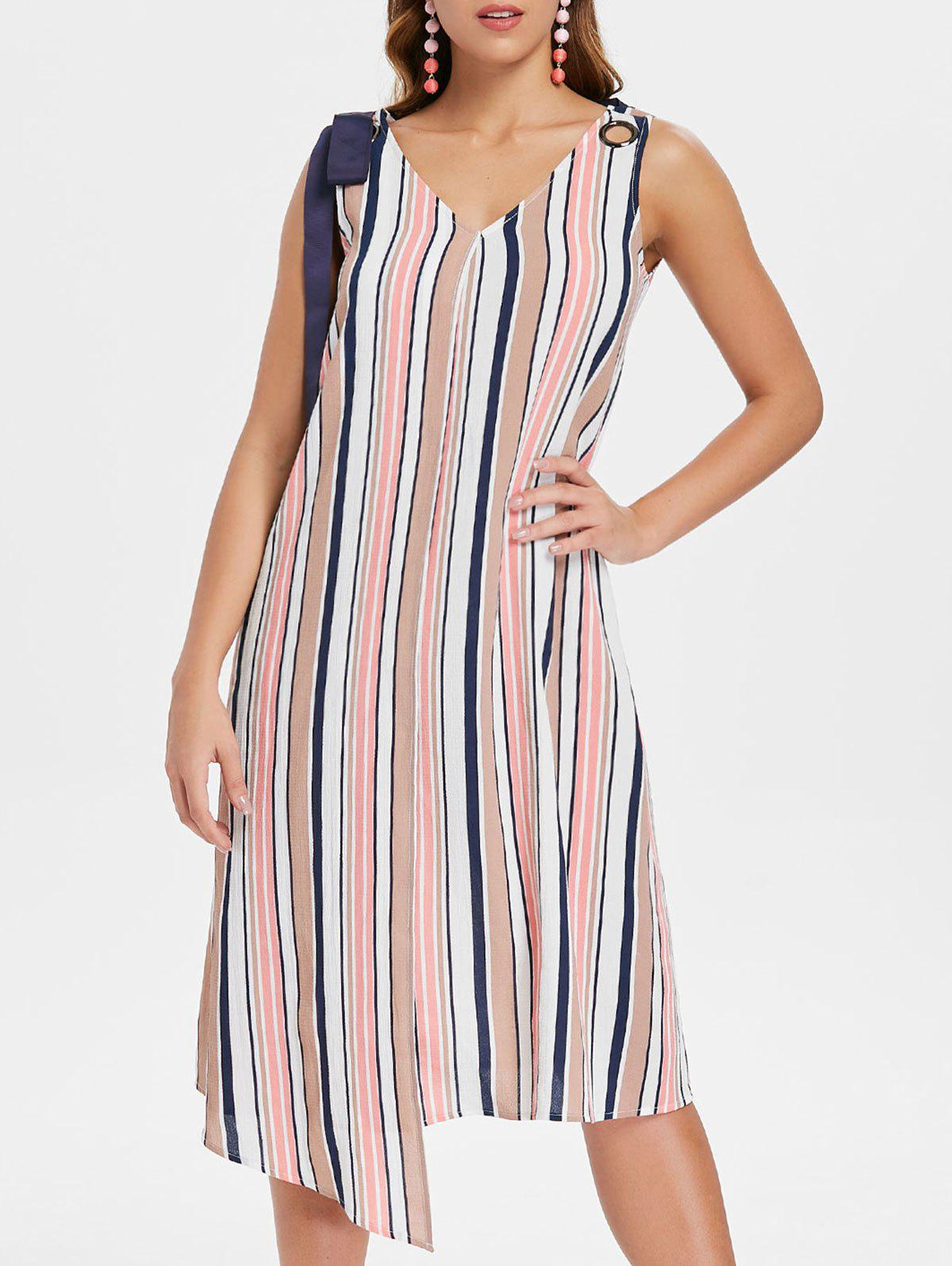 Striped Sleeveless Casual Dress - multicolor L