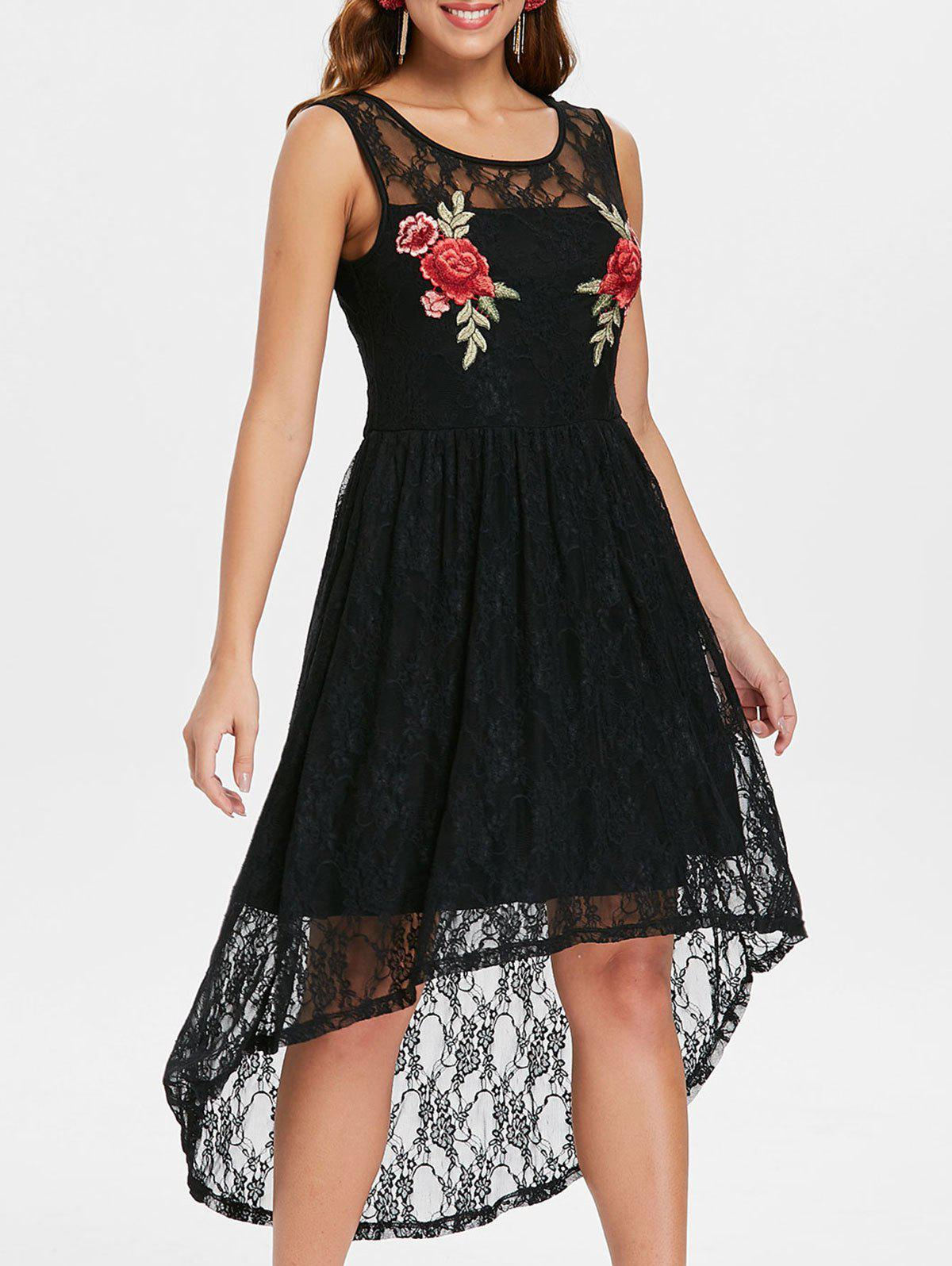 Floral Applique Asymmetrical Lace Dress - BLACK M