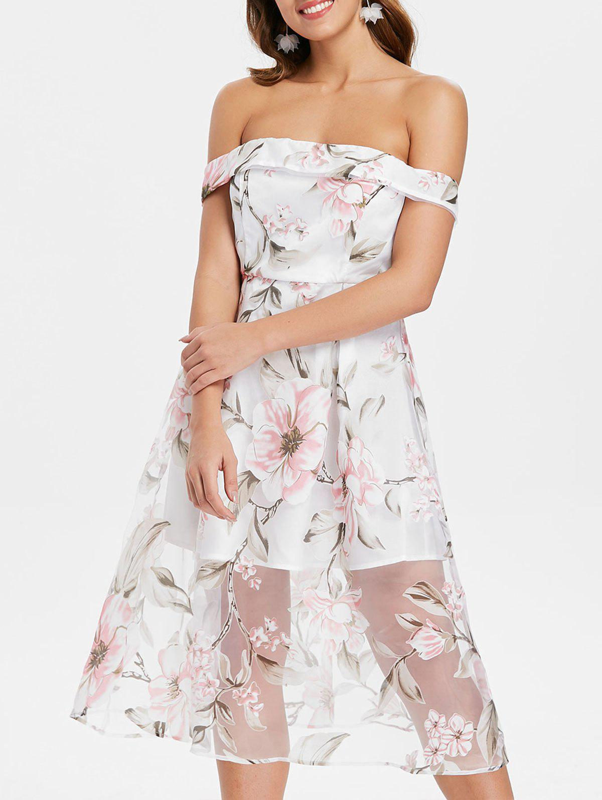 Floral Off Shoulder Mesh Swing Midi Dress - WHITE L