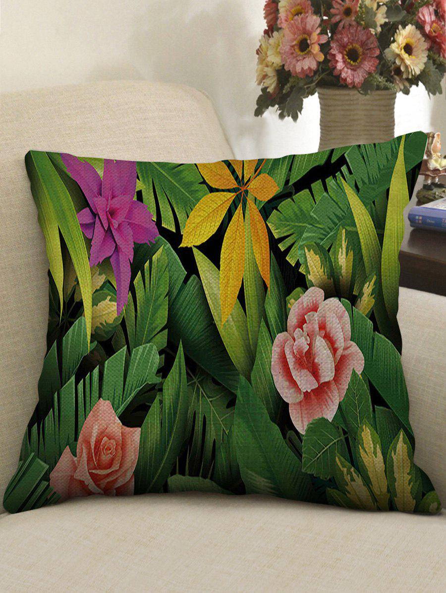 Tropical Plants Print Linen Sofa Pillowcase - multicolor W18 INCH * L18 INCH