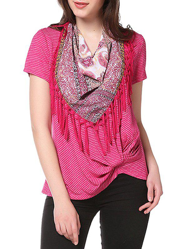 Knotted on Hemline T-shirt with Matching Scarf - HOT PINK L