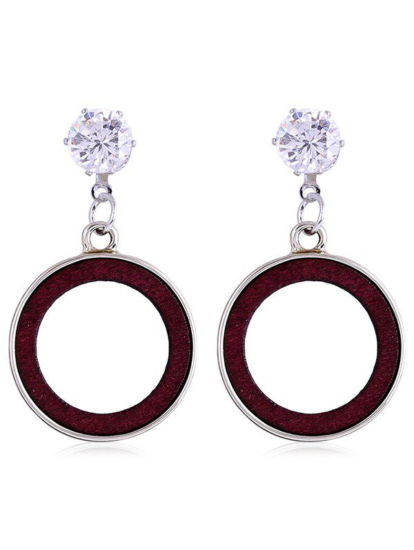 Shiny Rhinestone Wooden Round Drop Earrings - RED WINE