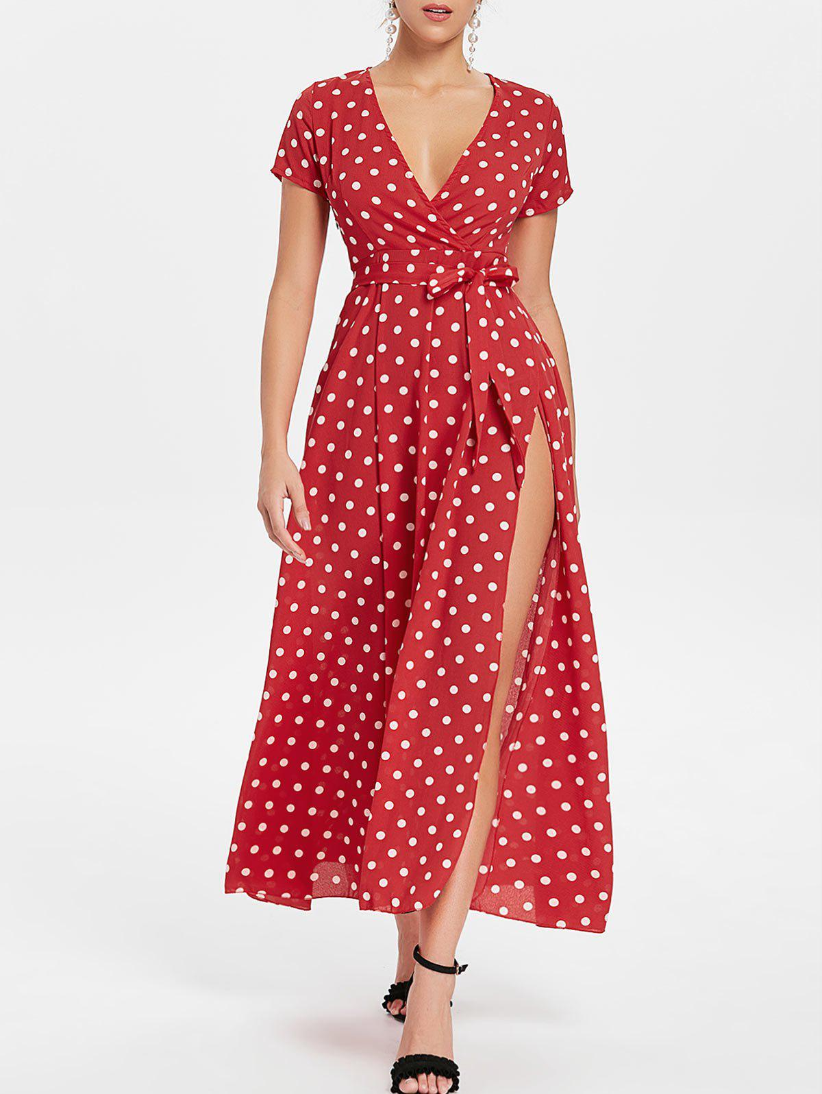 Polka Dot High Slit Maxi Dress - FIRE ENGINE RED L