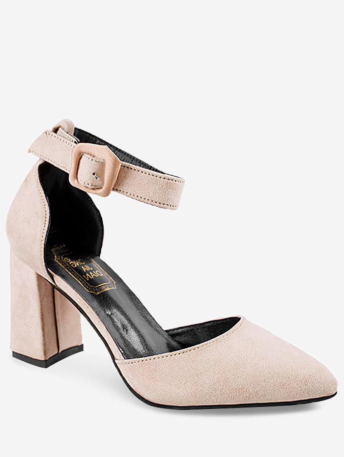 High Heel Pointed Toe Chic Ankle Strap Pumps - BEIGE 37