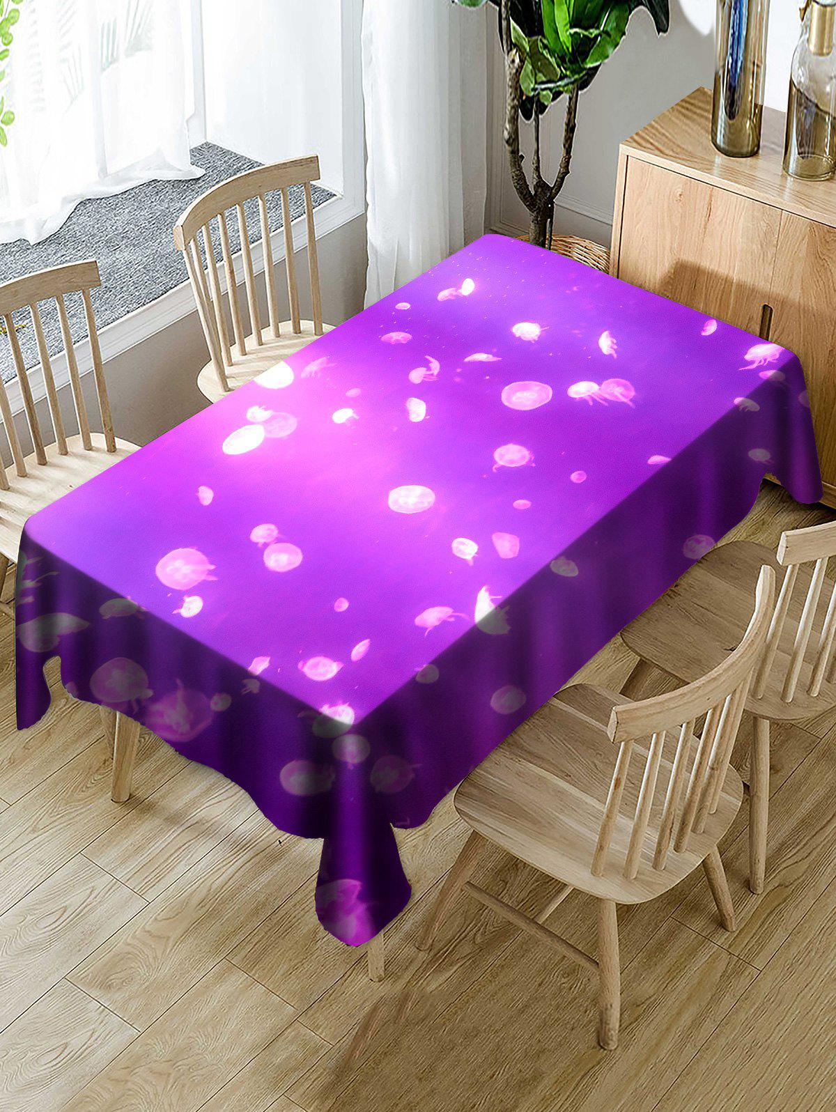 Small Jellyfish Printed Decoration Table Cover - PURPLE W60 INCH * L84 INCH