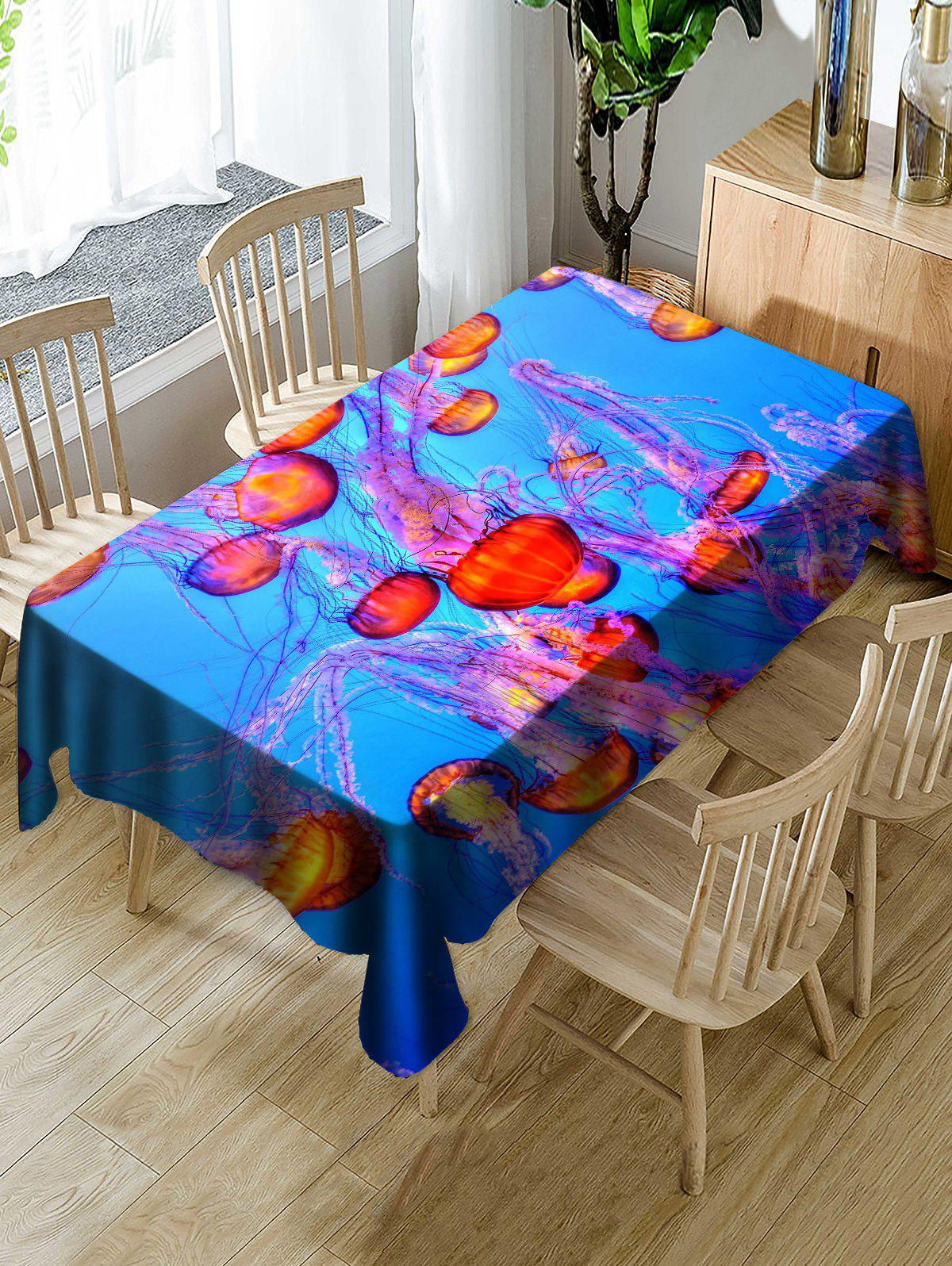 Jellyfish Printed Decoration Table Cloth - BLUE W54 INCH * L54 INCH