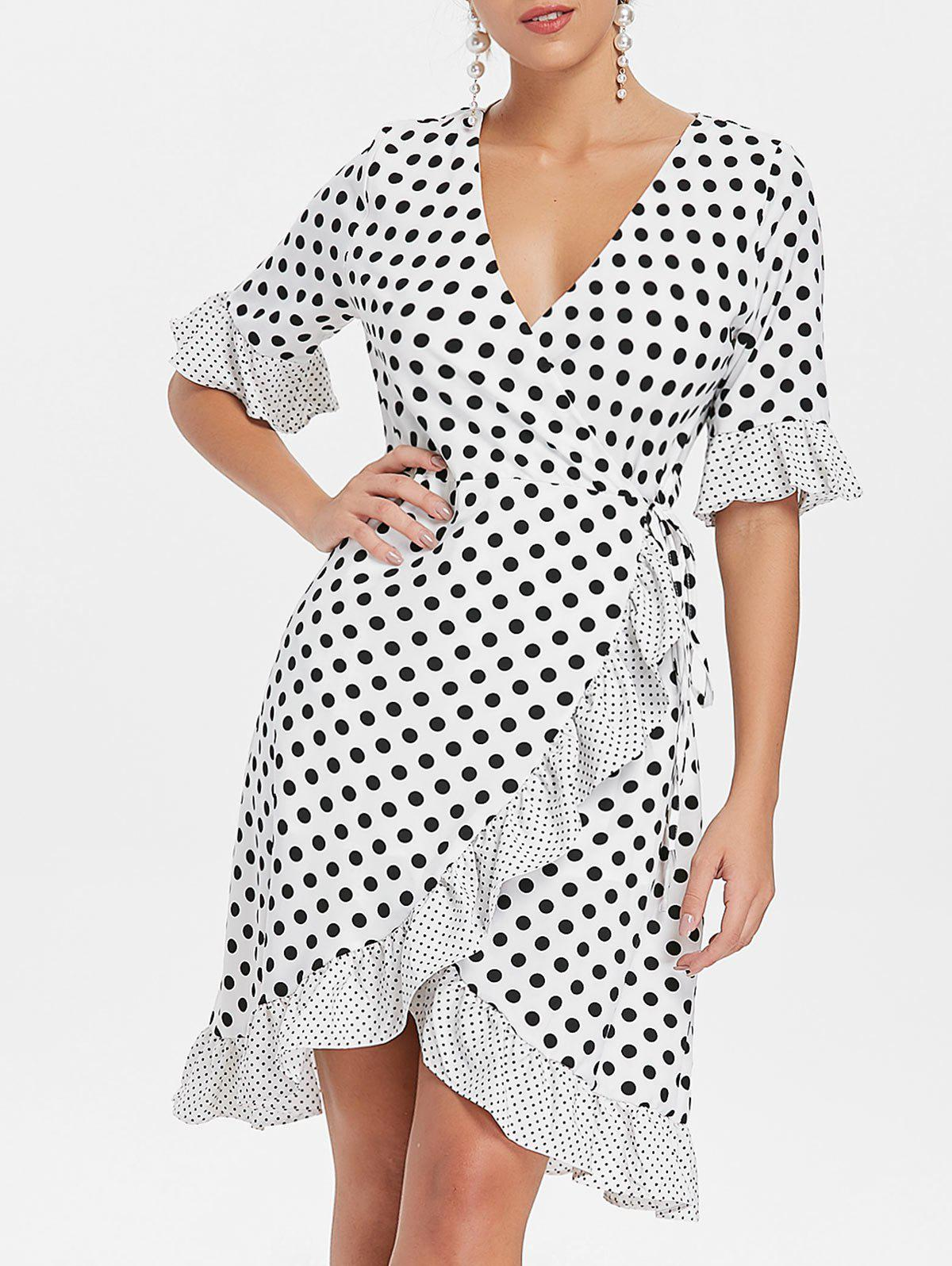 Ruffle Dotted Midi Wrap Dress - WHITE M