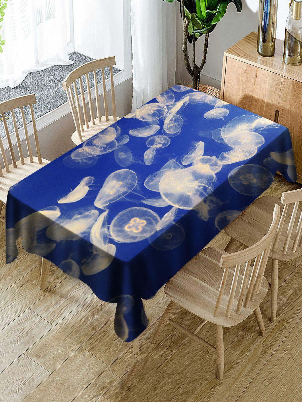 Jellyfish Pattern Waterproof Table Cloth - BLUE W54 INCH * L72 INCH