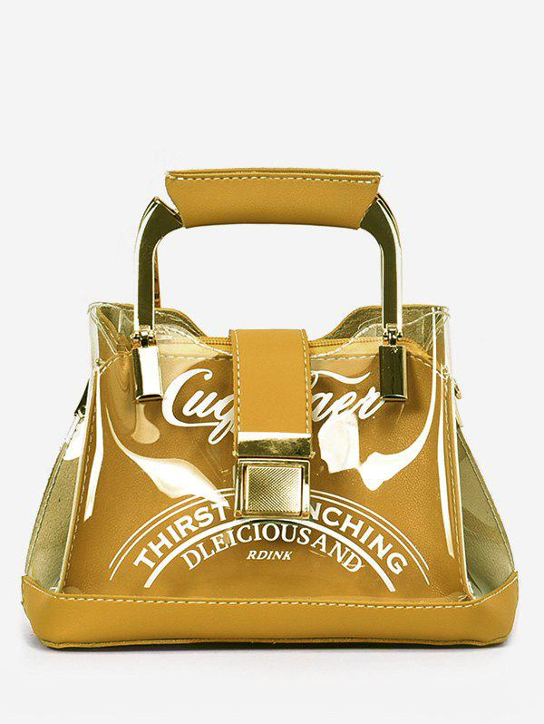 Chic PU Leather Lucid Letter Print Handbag - SCHOOL BUS YELLOW