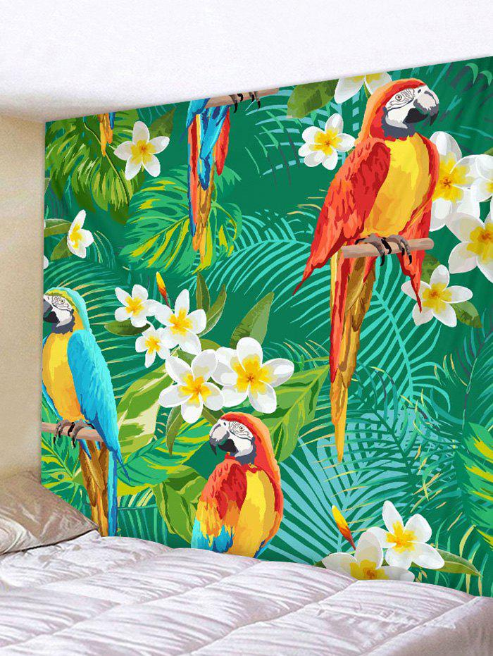 Tropical Parrots Flowers Plants Print Wall Hanging Tapestry 2 in1 zd 06 handheld waterproof gardens plants flowers soil ph