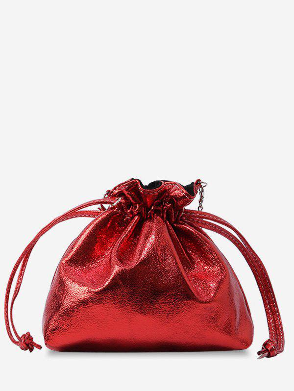 Metal Chain Solid Daily String Sling Bag - LAVA RED