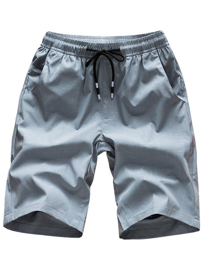Elastic Waist Cross Line Print Casual Shorts - GRAY XS