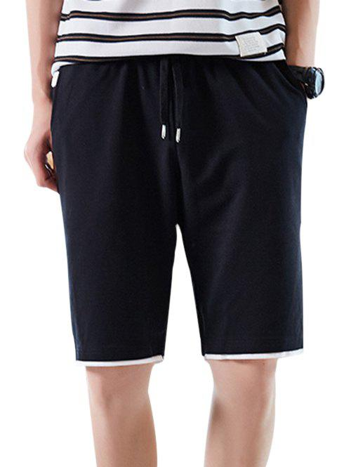 Layered Hem Elastic Waist Casual Shorts - BLACK XS