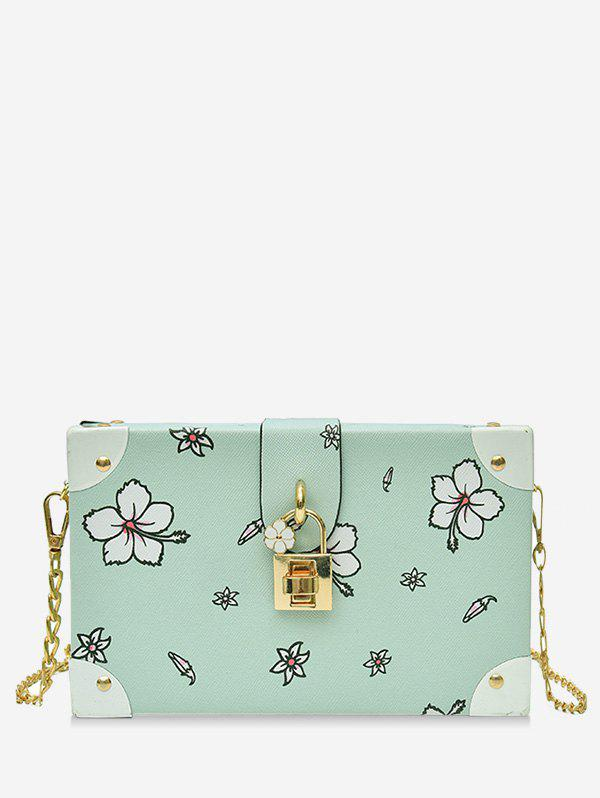 Floral Print Box Shaped Crossbody Bag with Lock - GREEN PEAS