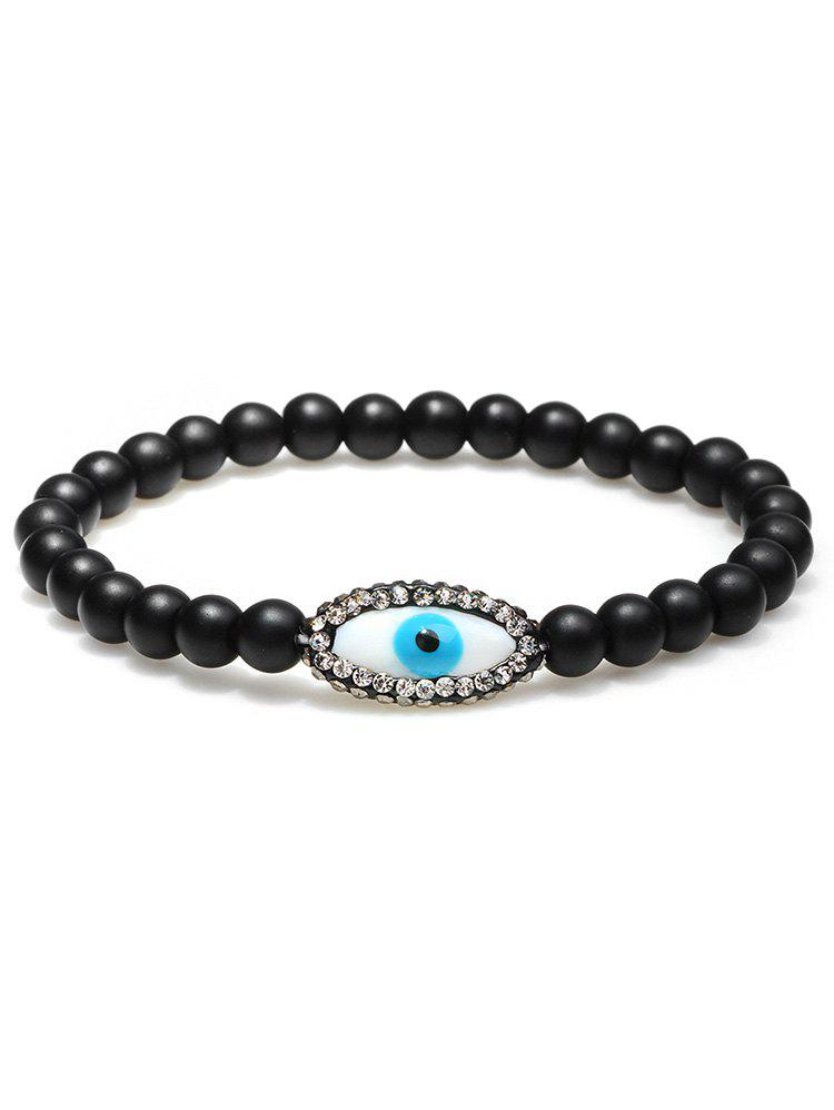 Statement Evil Eye Rhinestone Beaded Bracelet - BLACK
