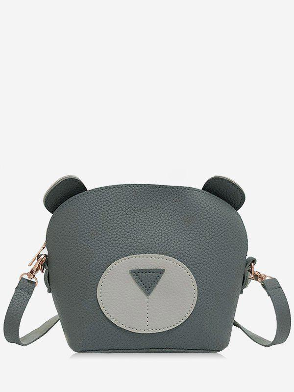 Color Block Bear Pattern Mini Cellphone Sling Bag - ASH GRAY