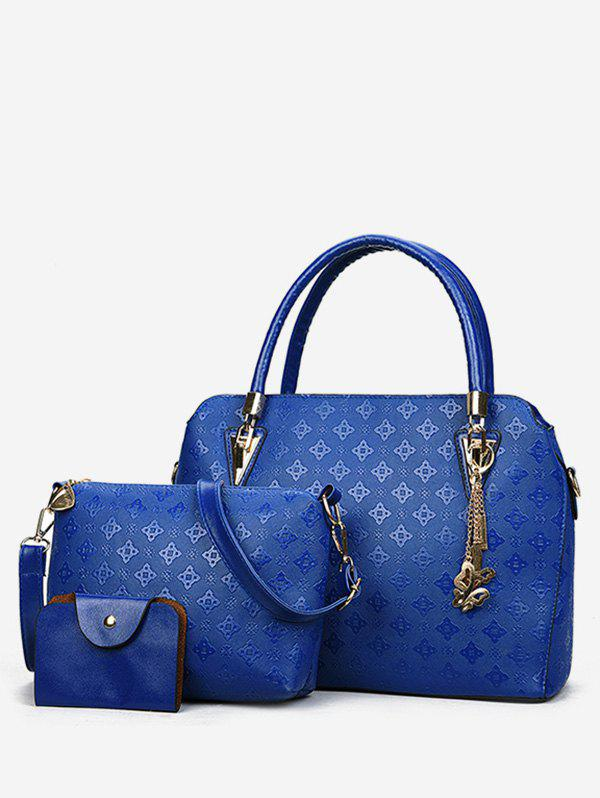 Embossed PU Leather Casual 3 Pieces Tote Bag Set - COBALT BLUE