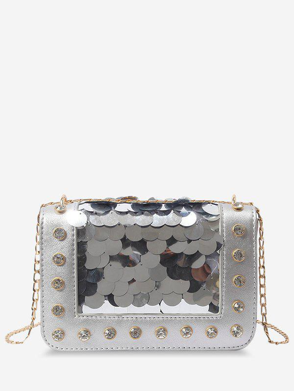 Sequins Crystals Chic PU Leather Crossbody Bag - SILVER