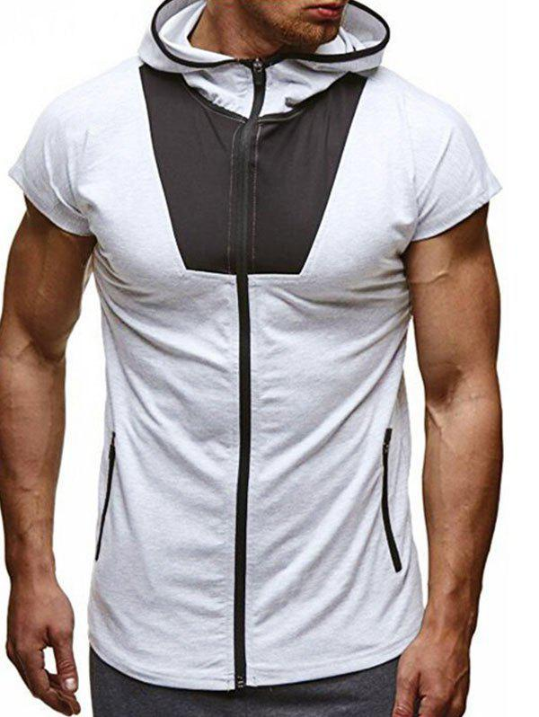 Color Block Patchwork Zipper Hooded Casual T-shirt - WHITE S