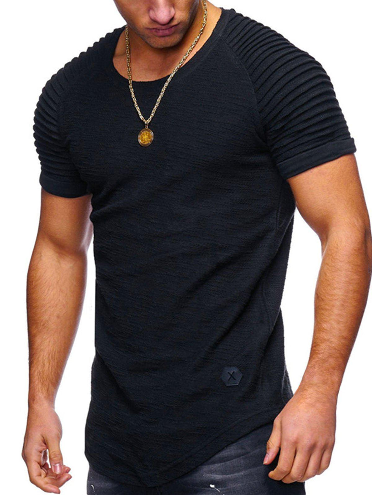 Pleated Sleeve Curved Hem Patch T-shirt - BLACK L