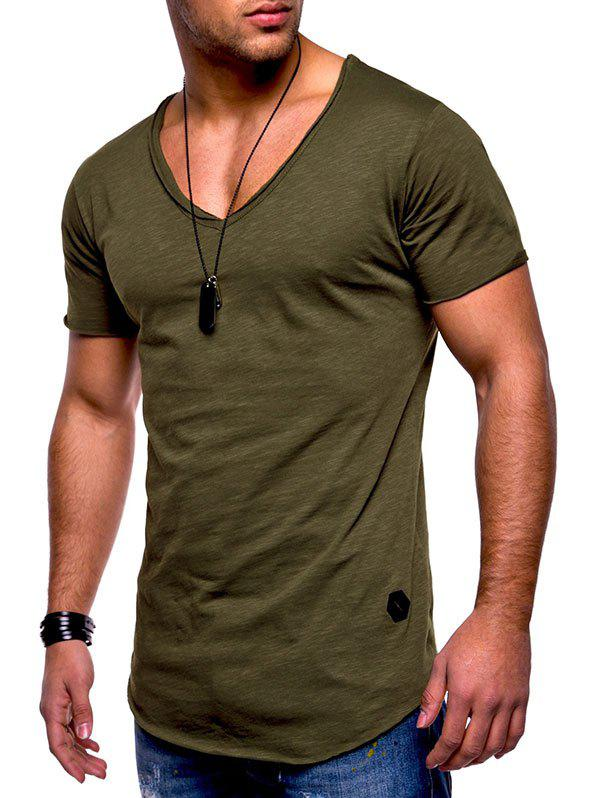 Raw Edge Solid Color Embroidered Patch T-shirt - CAMOUFLAGE GREEN L