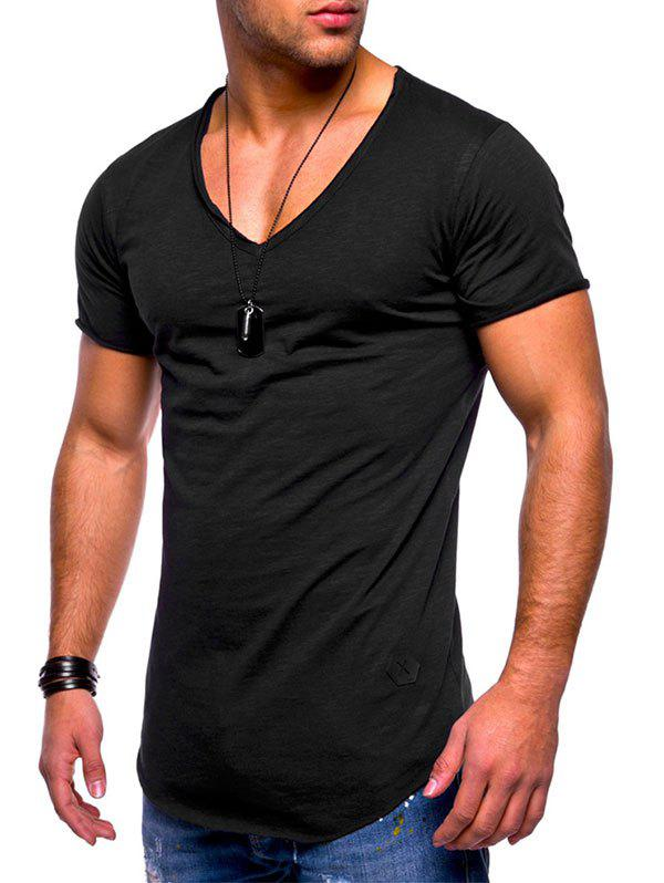 Raw Edge Solid Color Embroidered Patch T-shirt - BLACK L