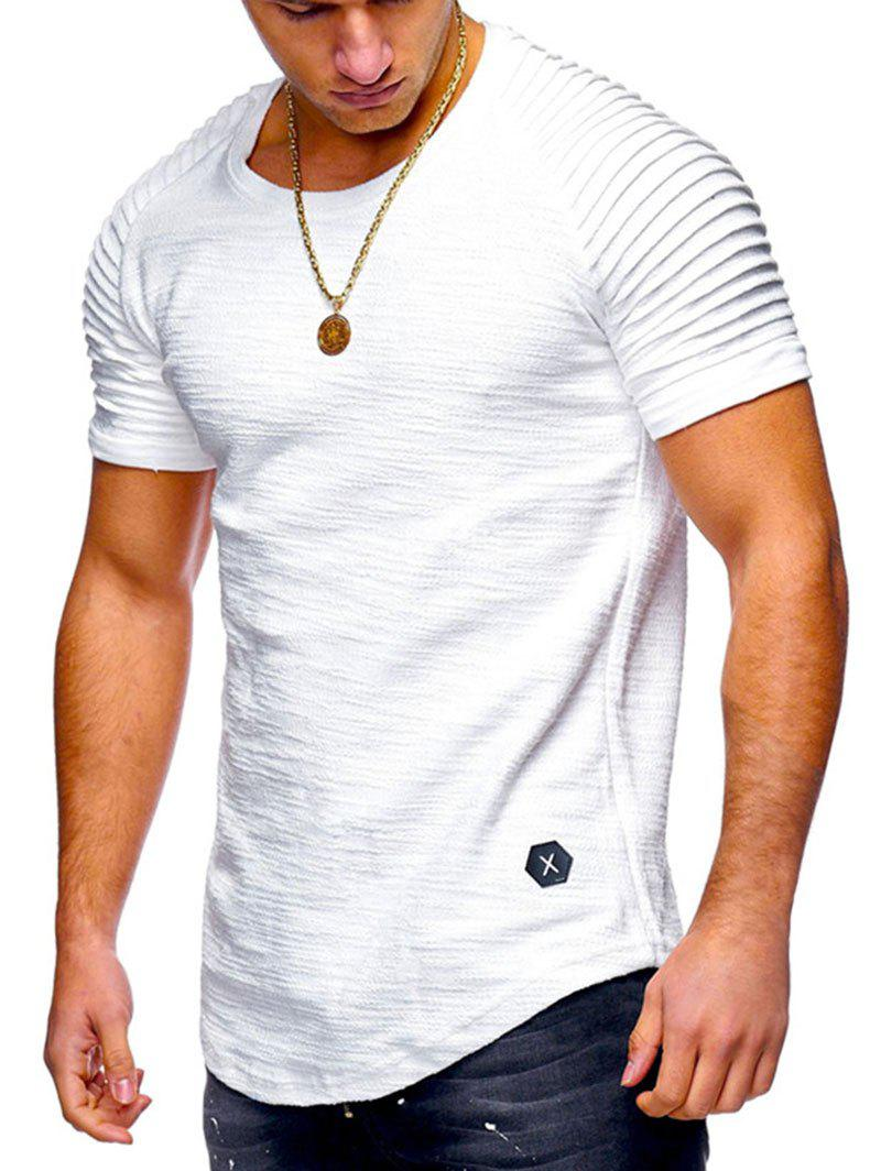 Pleated Sleeve Curved Hem Patch T-shirt - WHITE M