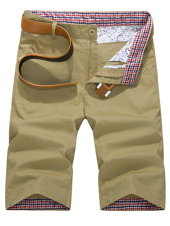 Zipper Fly Check Print Panel Bermuda Shorts - LIGHT KHAKI 3XL