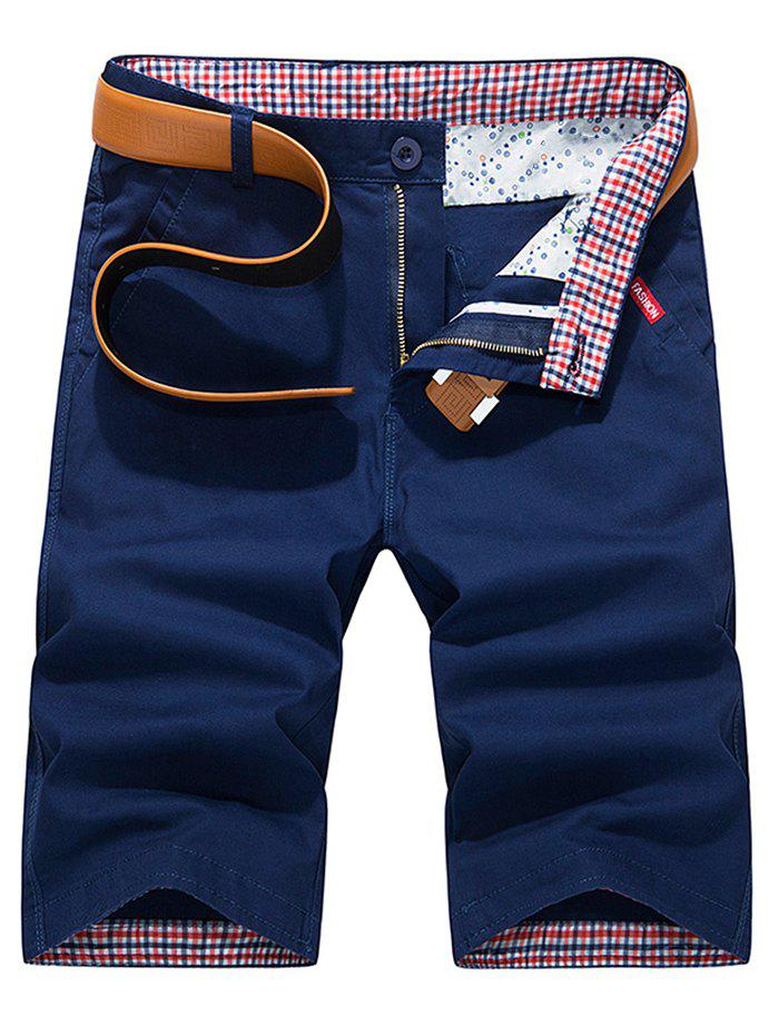 Zipper Fly Check Print Panel Bermuda Shorts - DEEP BLUE L