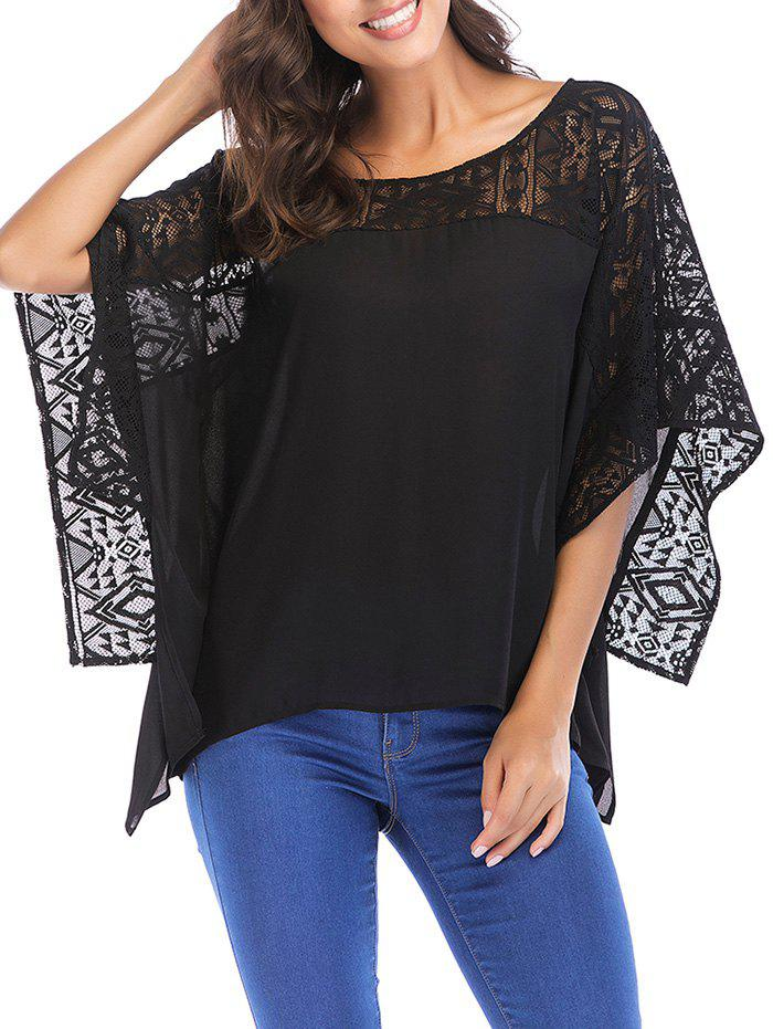 Round Neck Lace Batwing Sleeve Loose Blouse - BLACK M
