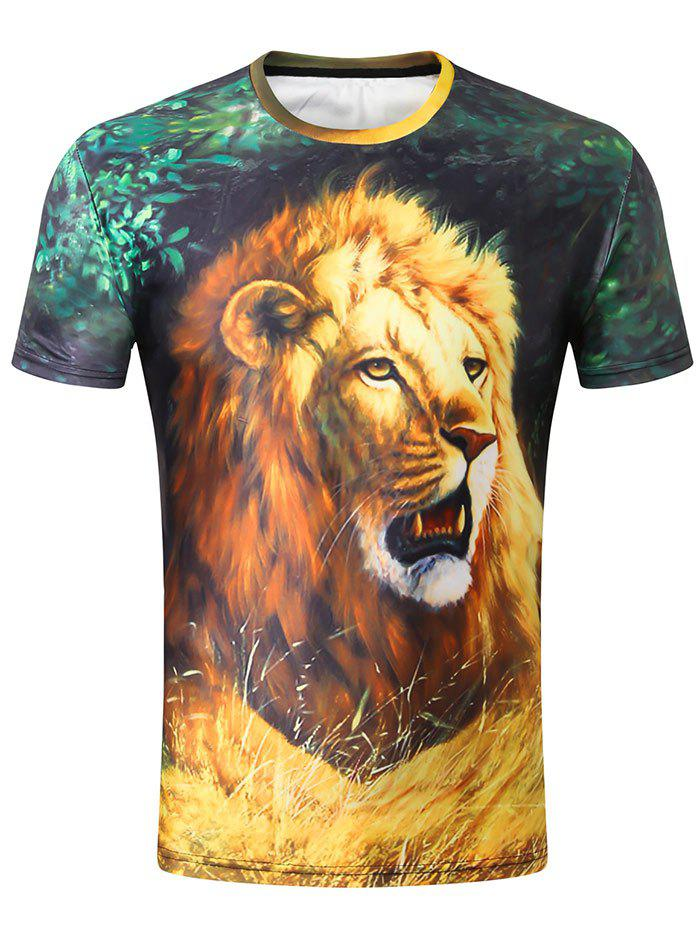 Crew Neck 3D Lion in Jungle Print Tee crew neck letter print tee in red