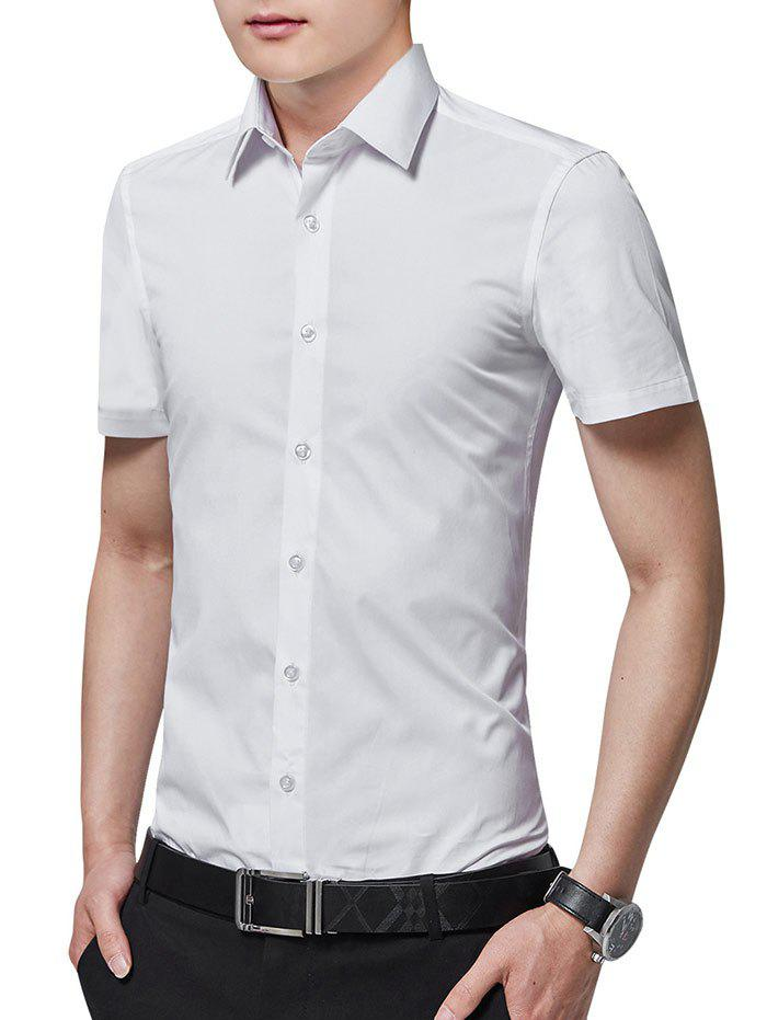 Slim Fit Solid Color Button Up Business Shirt - WHITE M