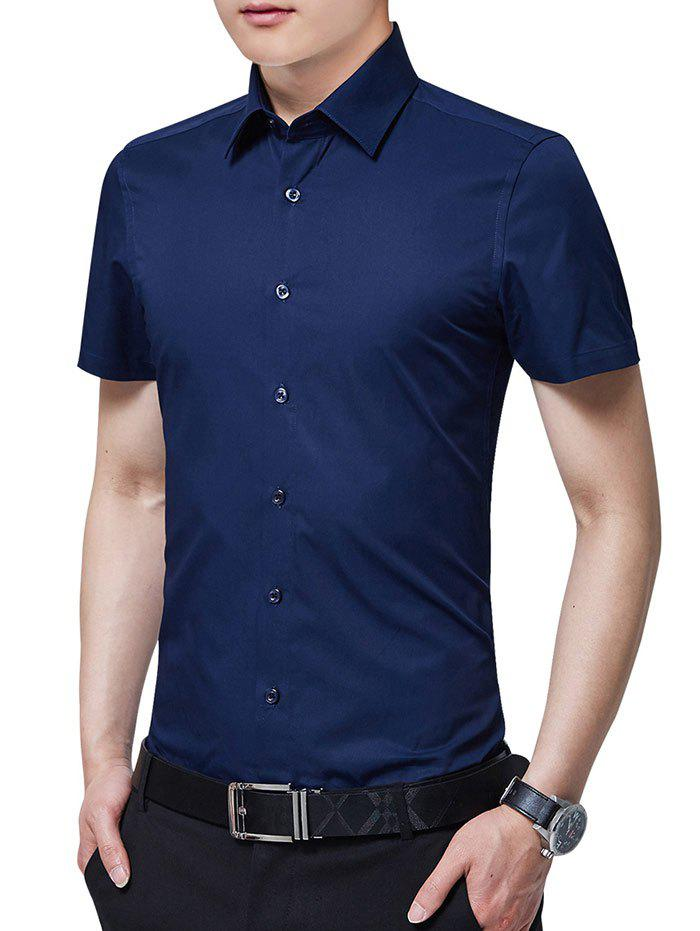Slim Fit Solid Color Button Up Business Shirt - DEEP BLUE 2XL