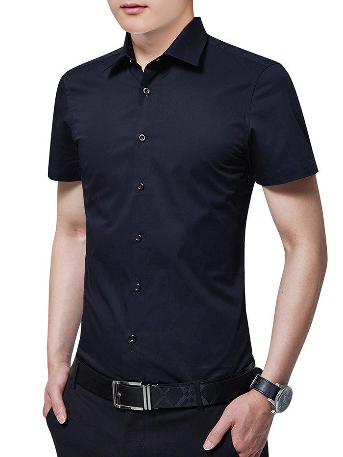 Slim Fit Solid Color Button Up Business Shirt - BLACK 2XL