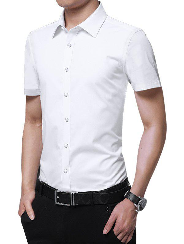 Solid Color Button Up Slim Fit Shirt - WHITE 3XL