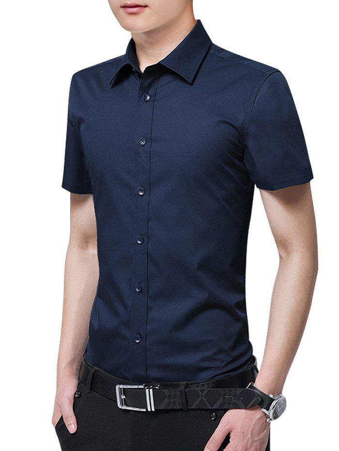 Solid Color Button Up Slim Fit Shirt - DEEP BLUE 2XL