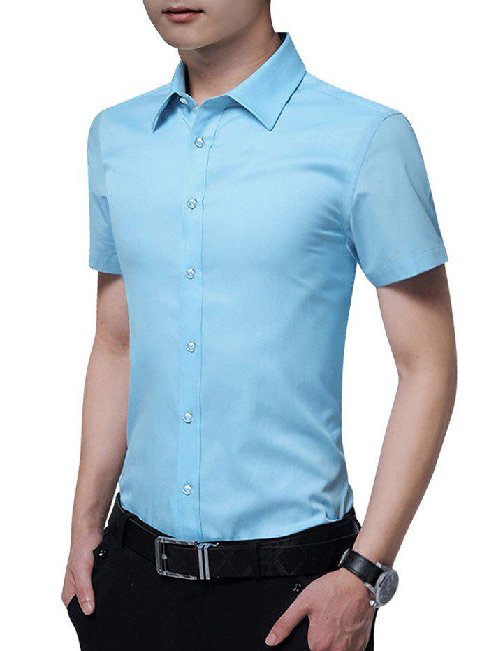 Solid Color Button Up Slim Fit Shirt - LIGHT BLUE 3XL