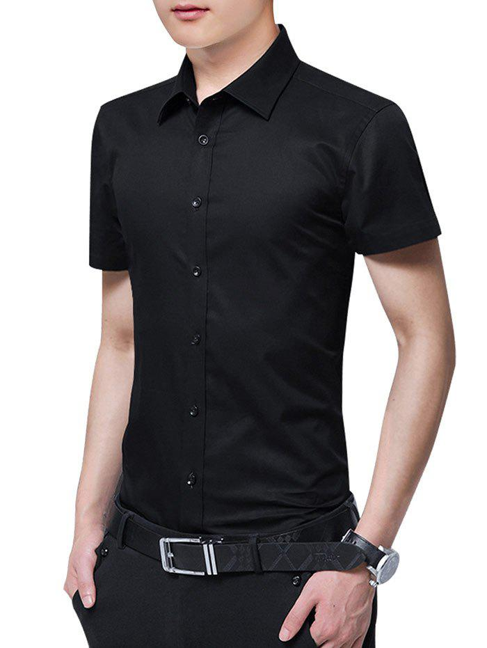Solid Color Button Up Slim Fit Shirt - BLACK L
