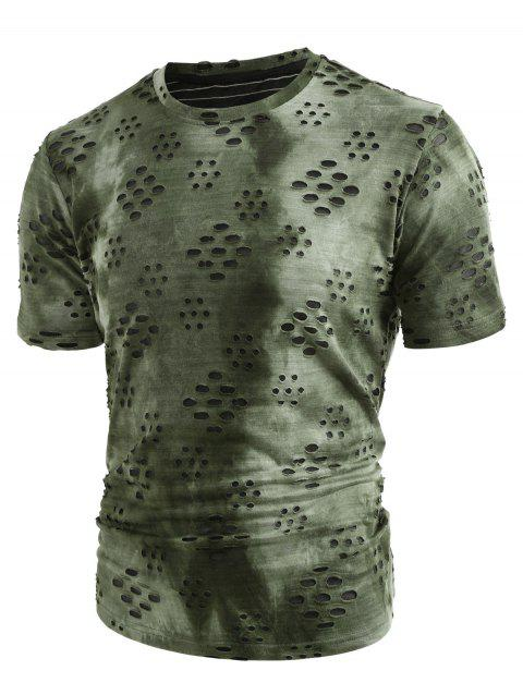 Crew Neck Broken Holes Mesh Distressed T-shirt - ARMY GREEN 2XL