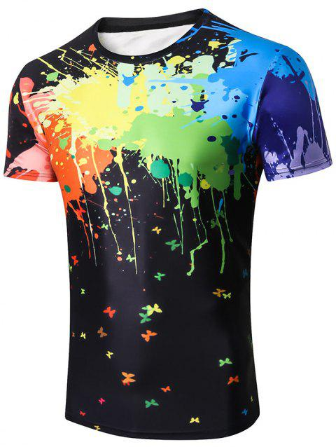 Short Sleeve Spatter Paint Printed Tee Shirt - BLACK XL