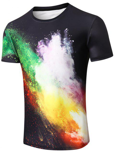 Spatter Paint Print Casual Tee - BLACK M