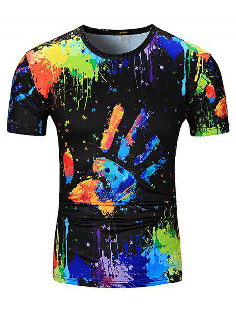Colorful Splatter Paint Handprint Print T-Shirt - COLORMIX L
