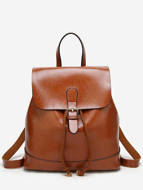 PU Leather Casual Flapped Outdoor Backpack - BROWN