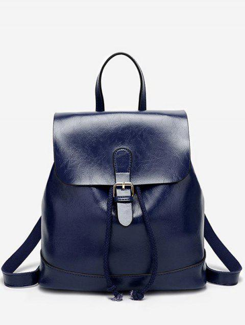 PU Leather Casual Flapped Outdoor Backpack - BLUE