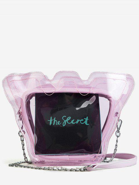 Metal Chain Lucid PVC Jelly Sling Bag - HOT PINK
