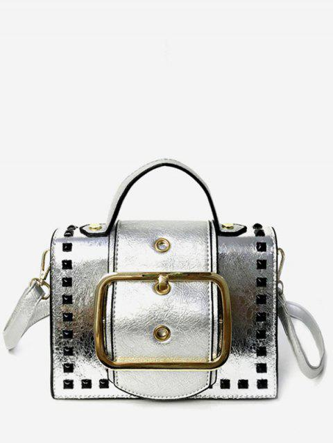 Shimmering Rivets Contrasting Color Crossbody Bag - SILVER