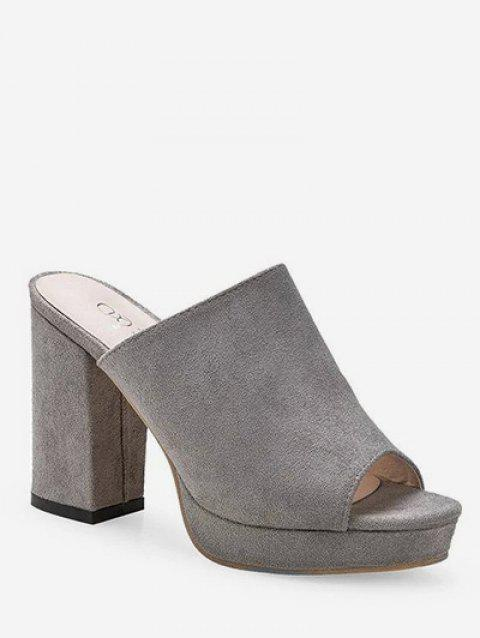 Leisure Peep Toe Block Heel Mules Shoes - GRAY 37