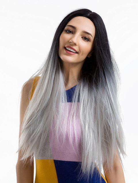 Long Center Parting Ombre Straight Party Synthetic Wig - GRAY CLOUD